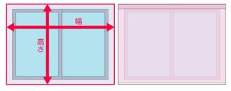 窓枠を覆う取り付けの場合