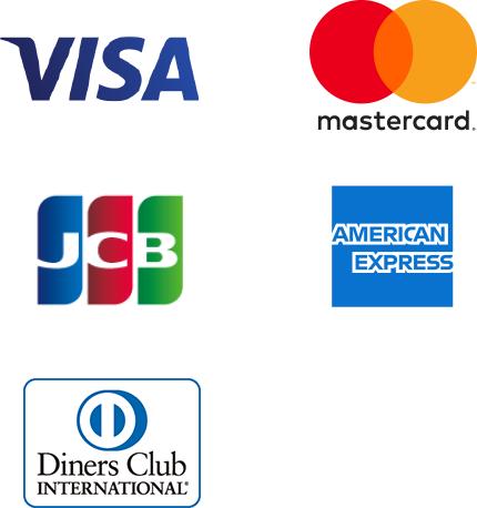 visa、mastercard、JCB、americanexpress diners