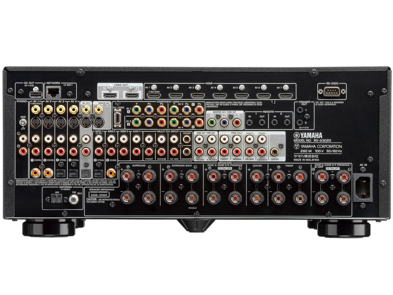 『本体 背面』 AVENTAGE RX-A3020(B) [ブラック] の製品画像