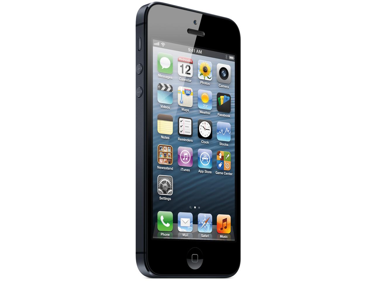 『本体 正面 斜め』 iPhone 5 64GB SoftBank [ブラック&スレート] の製品画像