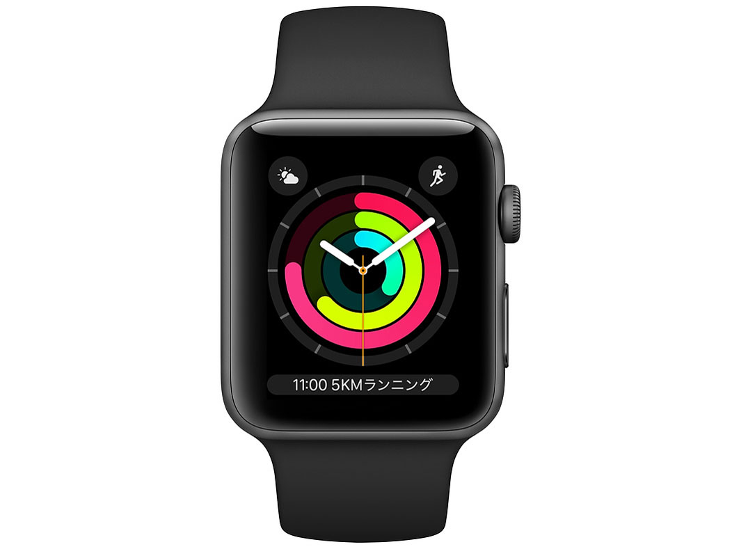 『本体 正面』 Apple Watch Series 3 GPSモデル 42mm MTF32J/A [ブラックスポーツバンド] の製品画像