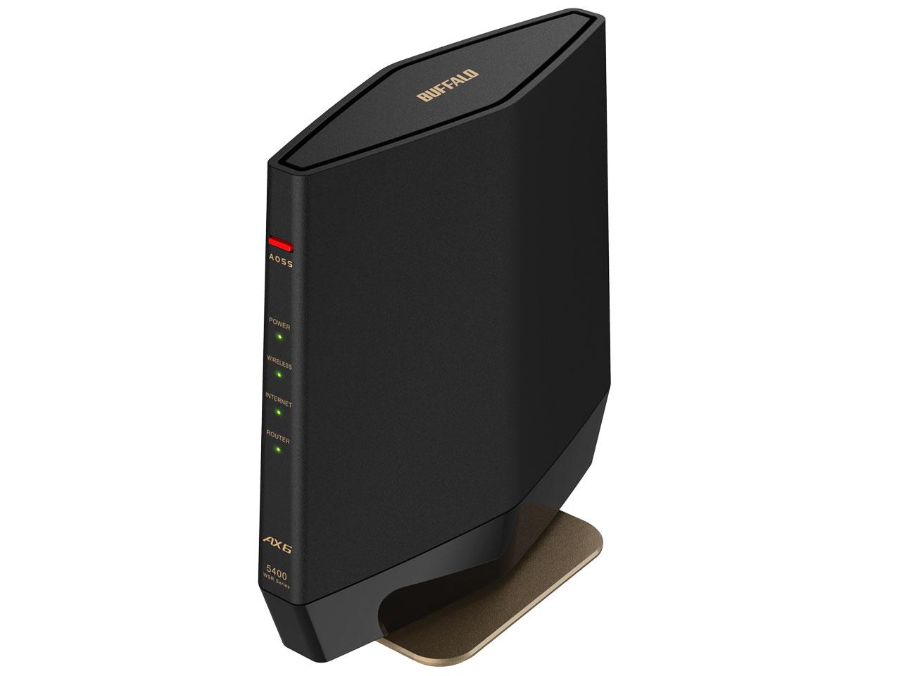 『本体 斜め1』 AirStation WSR-5400AX6-MB [マットブラック] の製品画像