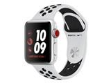 Apple Watch Nike+ Series 3 GPS+Cellularモデル 38mm MQM72J/A [ピュアプラチナ/ブラックNikeスポーツバンド] 製品画像