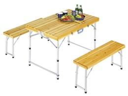 シダー 杉製ベンチインテーブルセット M-3770 [ナチュラル]