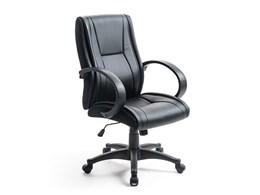 オフィスチェア(PUレザー・ロッキング・キャスター・肘掛け付き・ミドルバック・事務椅子) 150-SNCL010 [ブラック]