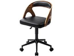 曲木オフィスチェア(ウォルナット・木製・背もたれ・ガス圧昇降式・360°回転・キャスター付き) 150-SNCH020