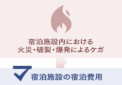 宿泊施設内における火災・破裂・爆発によるケガの場合、宿泊施設の宿泊費用