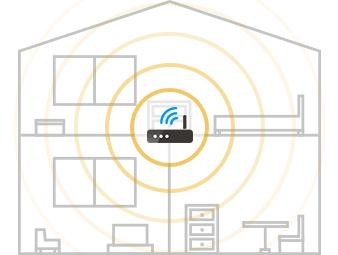 家の中央に置けば電波の届く範囲は広くなる